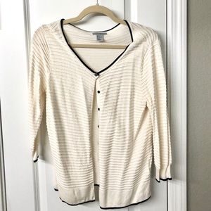 H&M white cardigan with black trim and ruffles